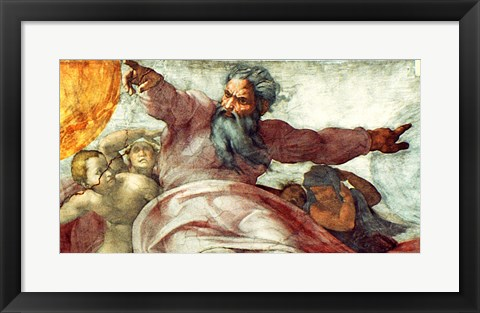 Framed Sistine Chapel Ceiling: Creation of the Sun and Moon, 1508-12 Print