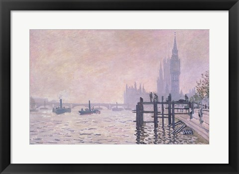 Framed Thames below Westminster, 1871 Print