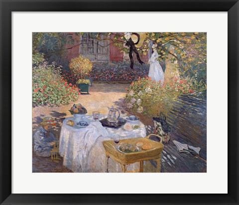 Framed Luncheon: Monet's garden at Argenteuil, c.1873 Print