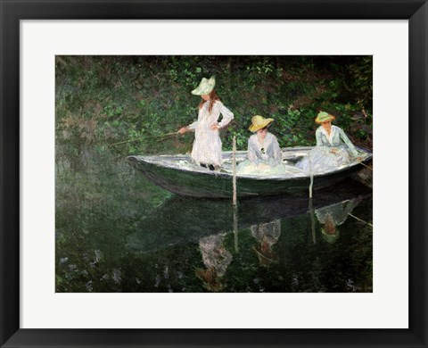 Framed Boat at Giverny, c.1887 Print