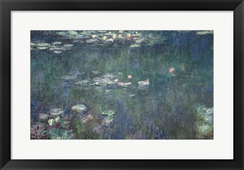 Framed Waterlilies: Green Reflections, 1914-18 Print