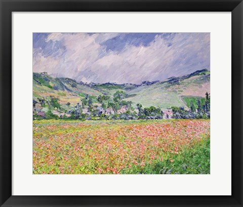 Framed Poppy Field near Giverny, 1885 Print