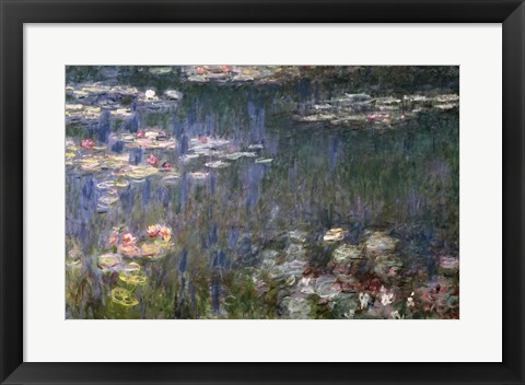 Framed Waterlilies: Green Reflections, 1914-18 (left section) Print