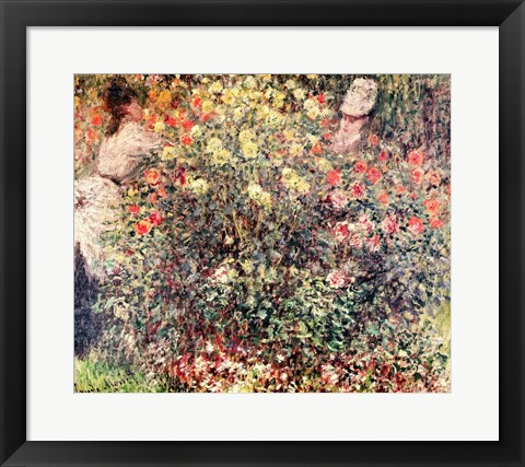 Framed Women in the Flowers, 1875 Print