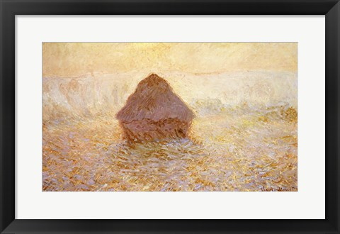 Framed Haystacks, Sun in the Mist Print