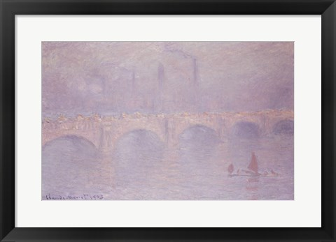 Framed Waterloo Bridge, Hazy Sunshine Print
