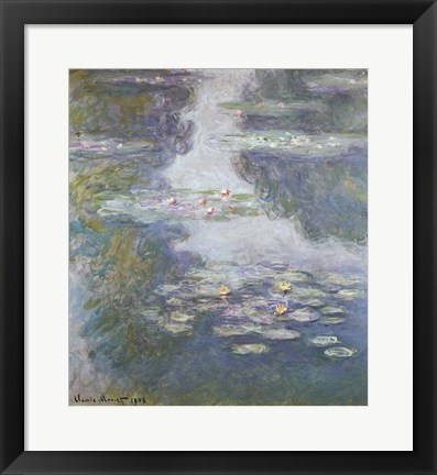 Framed Waterlilies, Nympheas, 1908 Print