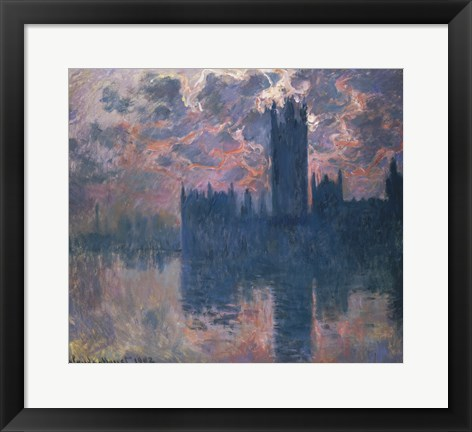 Framed Houses of Parliament, Sunset, 1902 Print
