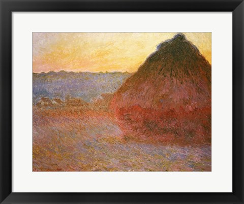 Framed Haystacks, Pink and Blue Impressions, 1891 Print