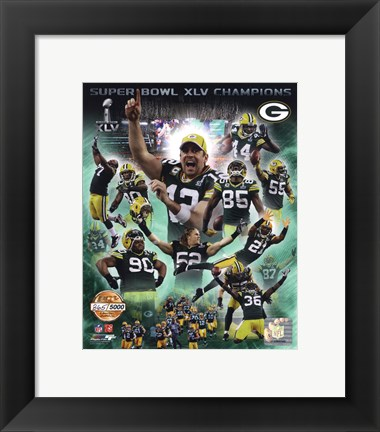 Framed Green Bay Packers Super Bowl XLV Champions PF Gold Composite Print