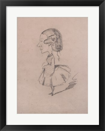 Framed Young girl in profile with a sharp nose Print