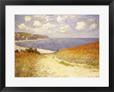 Framed Path in the Wheat at Pourville, 1882 Print