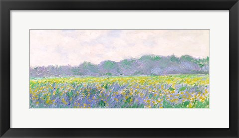 Framed Field of Yellow Irises at Giverny, 1887 Print