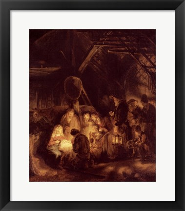 Framed Adoration of the Shepherds, 1646 Print