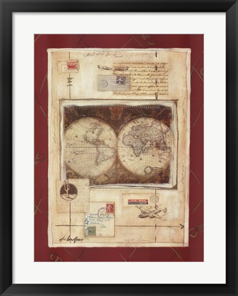 Framed Airmail Map 1 Print