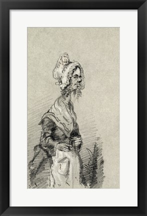 Framed Old Woman from Normandy in Profile, 1857 Print