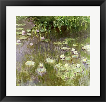 Framed Waterlilies at Midday, 1918 Print