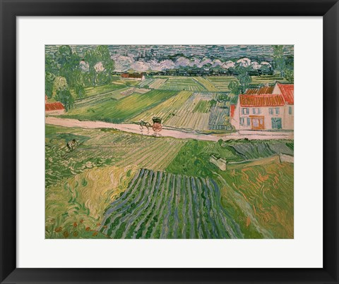 Framed Landscape at Auvers after the Rain, 1890 Print