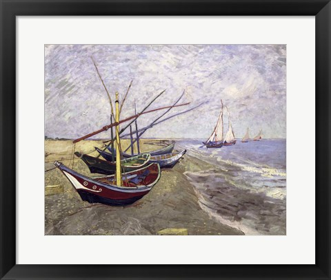 Framed Fishing Boats on the Beach at Saintes-Maries-de-la-Mer Print