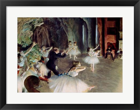 Framed Rehearsal of the Ballet on Stage Print