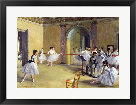 Framed Dance Foyer at the Opera on the rue Le Peletier, 1872 Print