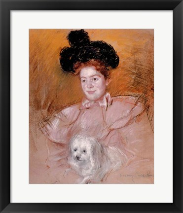 Framed Woman holding a dog Print