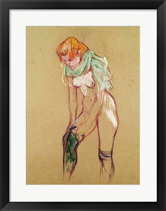 Framed Woman Pulling Up her Stocking, 1894 Print