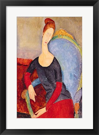 Framed Mme Hebuterne in a Blue Chair, 1918 Print