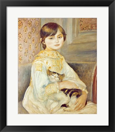 Framed Julie Manet with Cat, 1887 Print