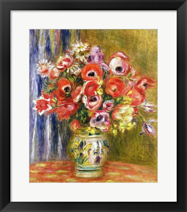 Framed Vase of Tulips and Anemones, c.1895 Print