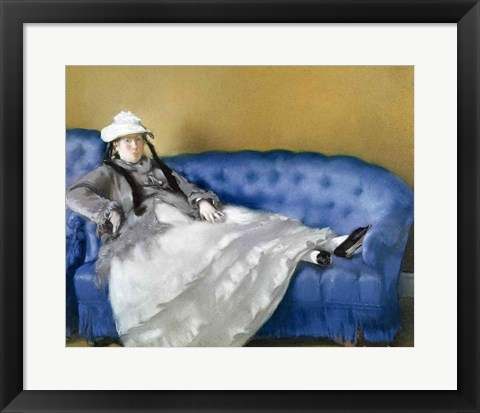 Framed Madame Manet on a Blue Sofa, 1874 Print