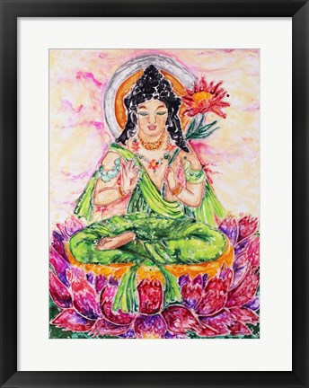 Framed Flower Buddha Print