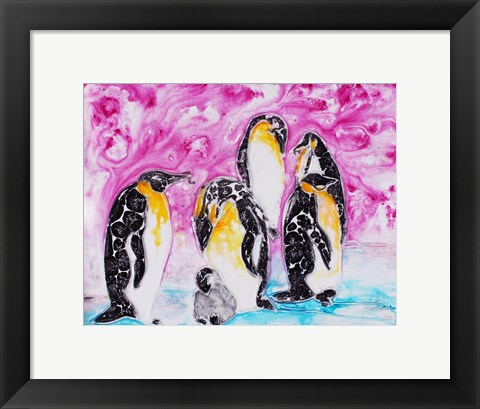 Framed Penguins Under Magenta Sky Print