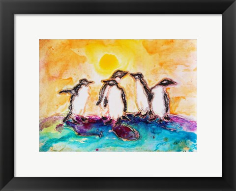 Framed Penguins Under the Sun Print