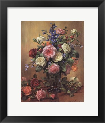 Framed Roses in a Blue Vase Print