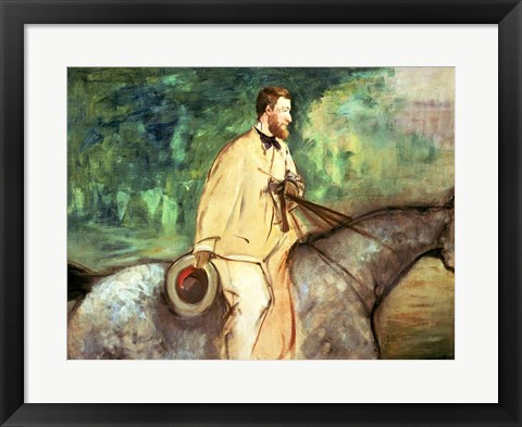 Framed Portrait of Gillaudin on a horse Print