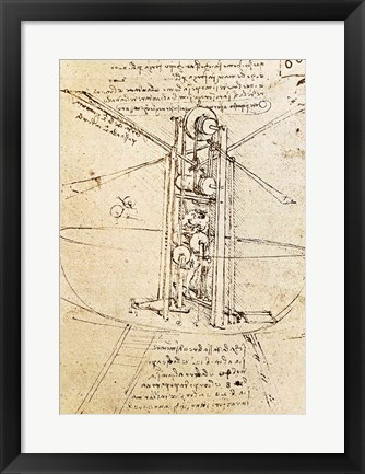 Framed Vertically Standing Bird's-winged Flying Machine Print