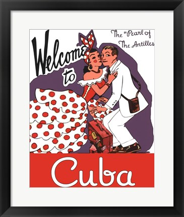 Framed Welcome to Cuba Print