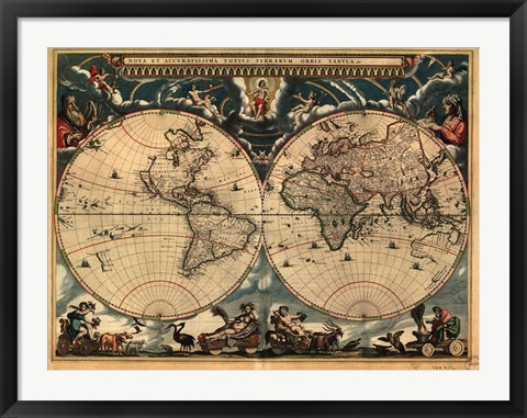 Framed World Map 1664 Print