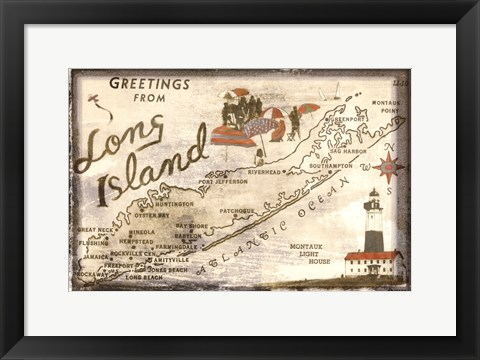 Framed Greetings from Long Island Print
