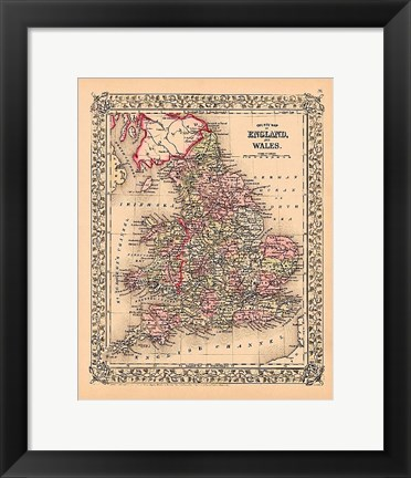 Framed County Map of England and Wales, 1867 Print