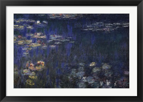 Framed Waterlilies: Green Reflections I Print