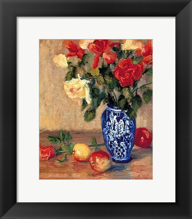 Framed Roses in a Mexican Vase Print