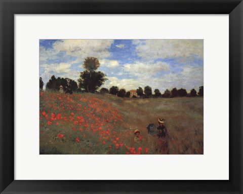 Framed Wild Poppies, near Argenteuil (Les Coquelicots: environs d'Argenteuil), 1873 Print