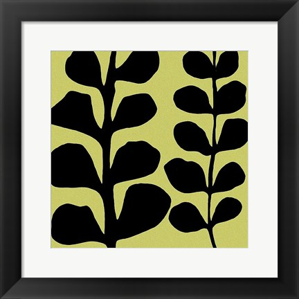 Framed Black Fern on Green Print