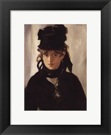 Framed Berthe Morisot with Bouquet of Violets, 1872 Print