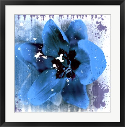 Framed Tulip Fresco (blue) Print