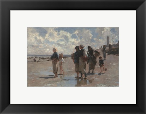 Framed Fishing for Oysters at Cancale, 1878 Print