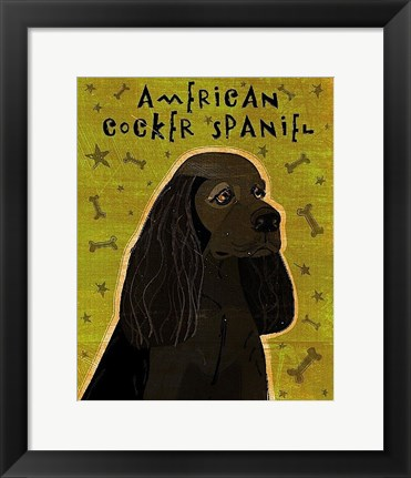 Framed American Cocker Spaniel (black) Print