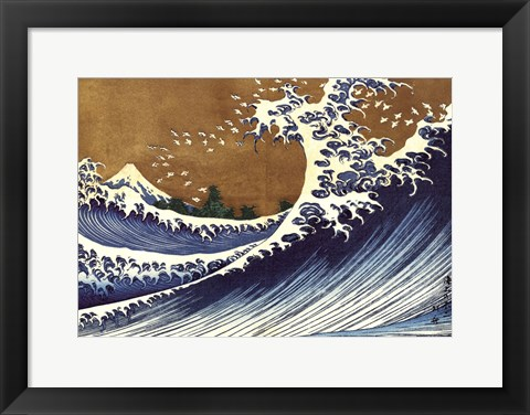 Framed Big Wave (from 100 views of Mt. Fuji) Print
